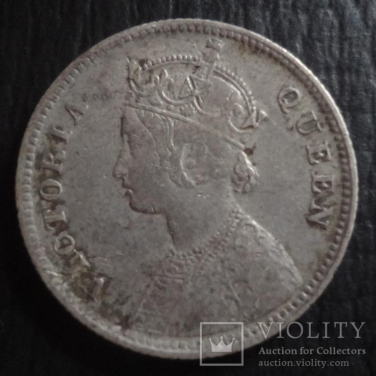1/4 рупии 1862 Великобританская Индия серебро   ($4.5.21)~, фото №4