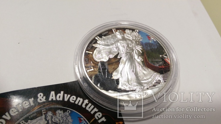 "2016 Leif Erikson серия ""Discoverer Adventurer"", 1oz Ag999 silver Eagle,США,5000 шт, фото №4"