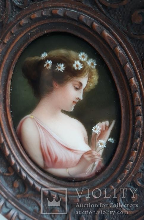 Старинная миниатюра, живопись на фарфоре, C&A Schwicker, фото №3