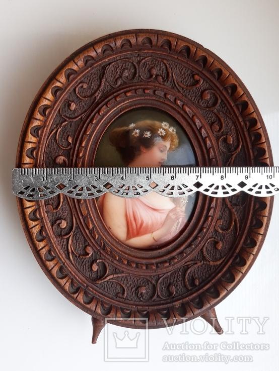 Старинная миниатюра, живопись на фарфоре, C&A Schwicker, фото №5