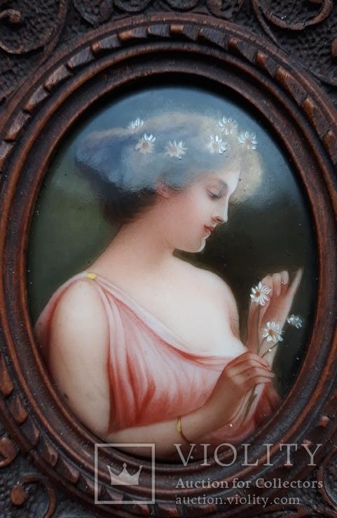 Старинная миниатюра, живопись на фарфоре, C&A Schwicker, фото №8