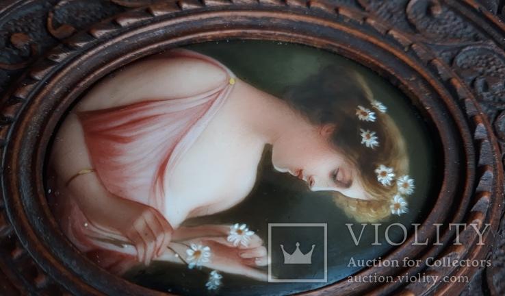 Старинная миниатюра, живопись на фарфоре, C&A Schwicker, фото №9