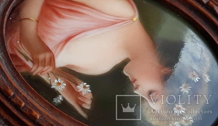 Старинная миниатюра, живопись на фарфоре, C&A Schwicker, фото №12
