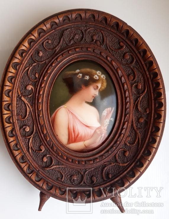 Старинная миниатюра, живопись на фарфоре, C&A Schwicker, фото №13