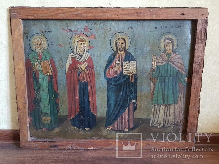 Икона Св.Николай, Богородица, Св.Варвара, Иисус Христос, фото №2