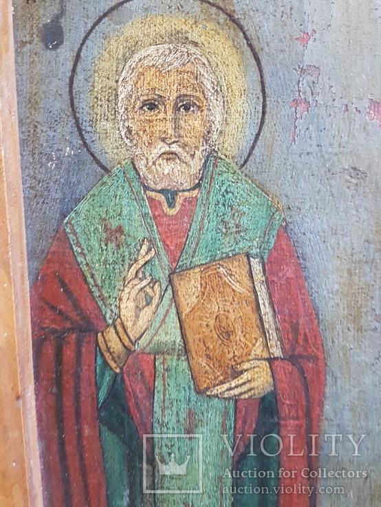 Икона Св.Николай, Богородица, Св.Варвара, Иисус Христос, фото №5