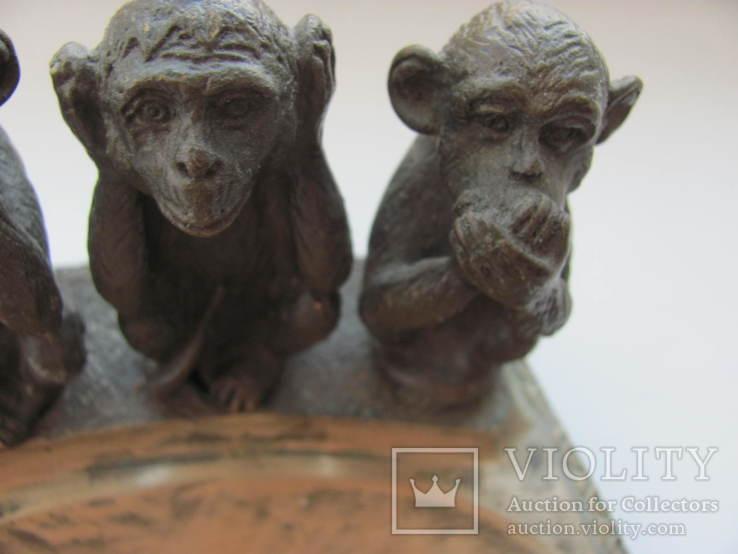 """Пепельница """"Три обезьяны """" бронза СССР, фото №4"""