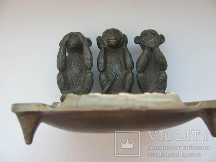 """Пепельница """"Три обезьяны """" бронза СССР, фото №11"""