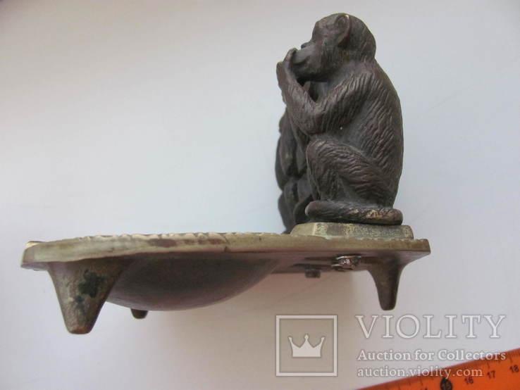 """Пепельница """"Три обезьяны """" бронза СССР, фото №13"""