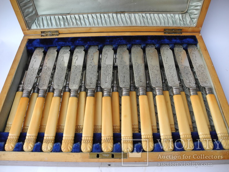 Старинный Столовый Набор для Рыбы на 12 персон ( Слоновая Кость , Штихель , Англия ), фото №3
