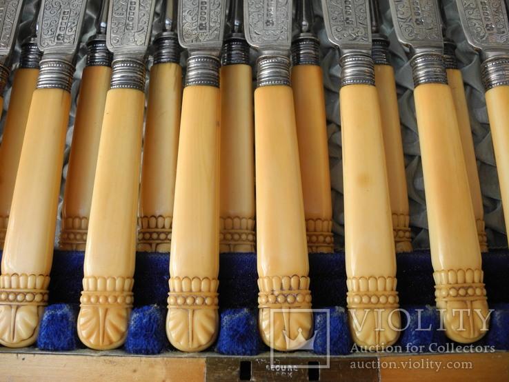 Старинный Столовый Набор для Рыбы на 12 персон ( Слоновая Кость , Штихель , Англия ), фото №6