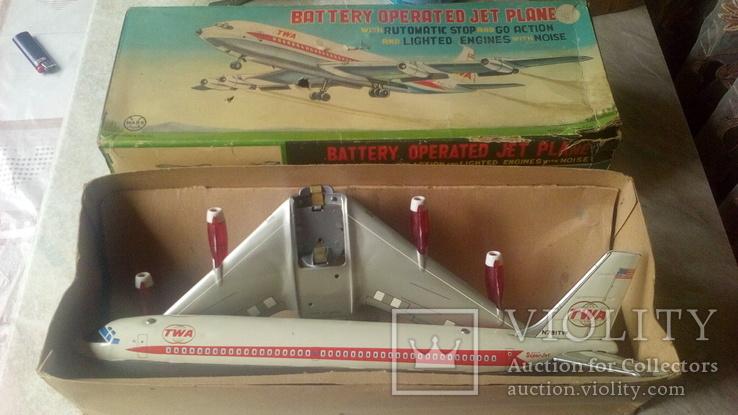 Самолет, 1970г, япония, на батарейках, jet plane twa 4916, фото №3