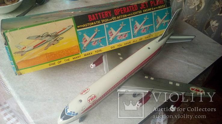 Самолет, 1970г, япония, на батарейках, jet plane twa 4916, фото №7