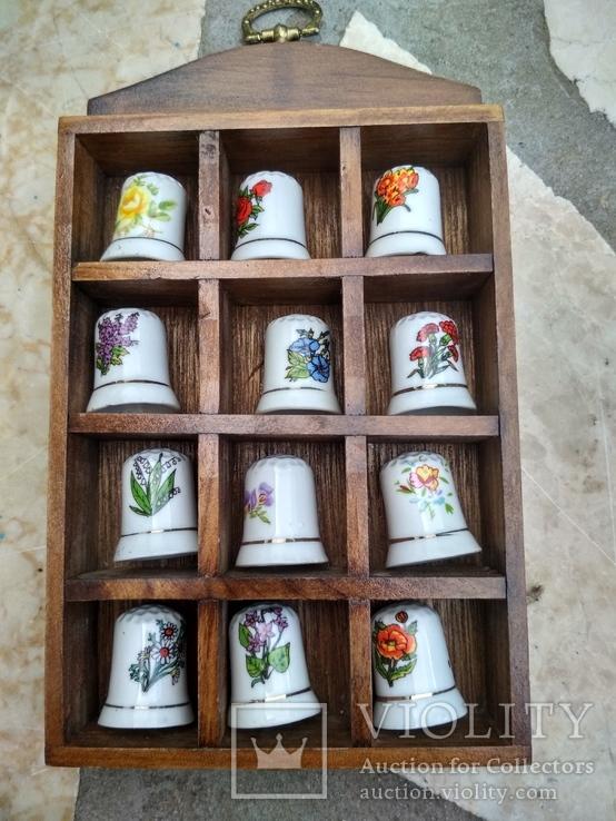 Наперстки Цветы набор на полке настенный декор, фото №3