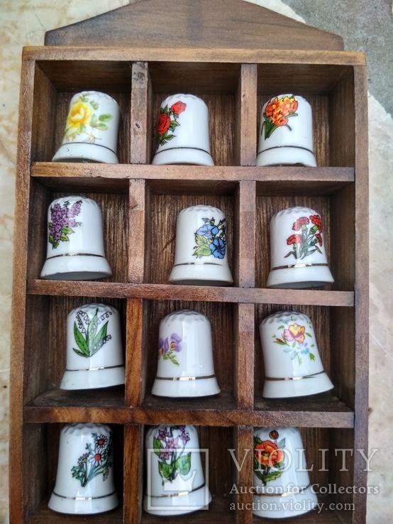 Наперстки Цветы набор на полке настенный декор
