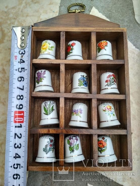 Наперстки Цветы набор на полке настенный декор, фото №7