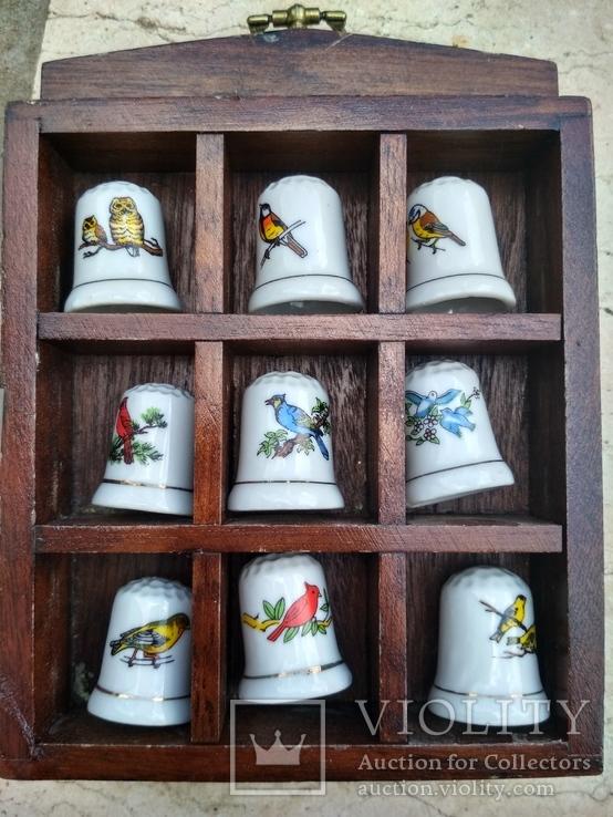 Наперстки Птицы набор на полке настенный декор в фирменной коробке