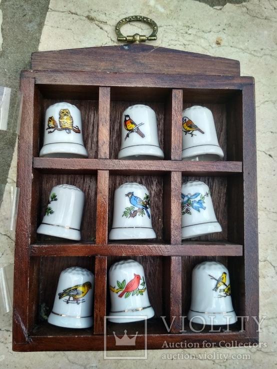 Наперстки Птицы набор на полке настенный декор в фирменной коробке, фото №3