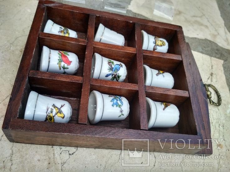 Наперстки Птицы набор на полке настенный декор в фирменной коробке, фото №4
