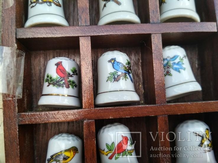 Наперстки Птицы набор на полке настенный декор в фирменной коробке, фото №6