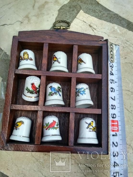 Наперстки Птицы набор на полке настенный декор в фирменной коробке, фото №8