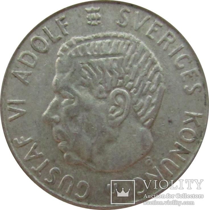 Швеция 1 крона 1964 - серебро,С15, фото №2