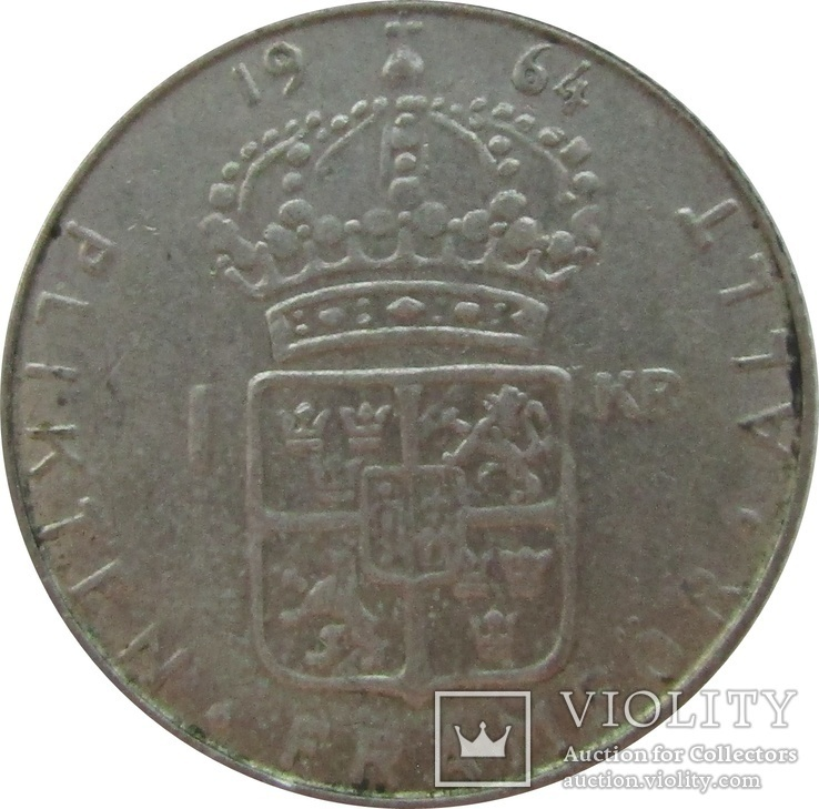 Швеция 1 крона 1964 - серебро,С15, фото №3
