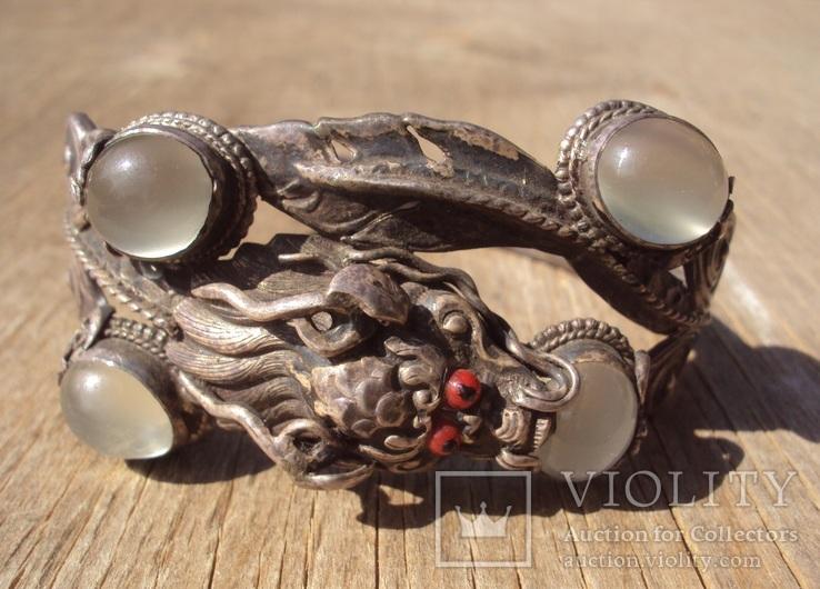 Старый браслет с лунными камнями., фото №12