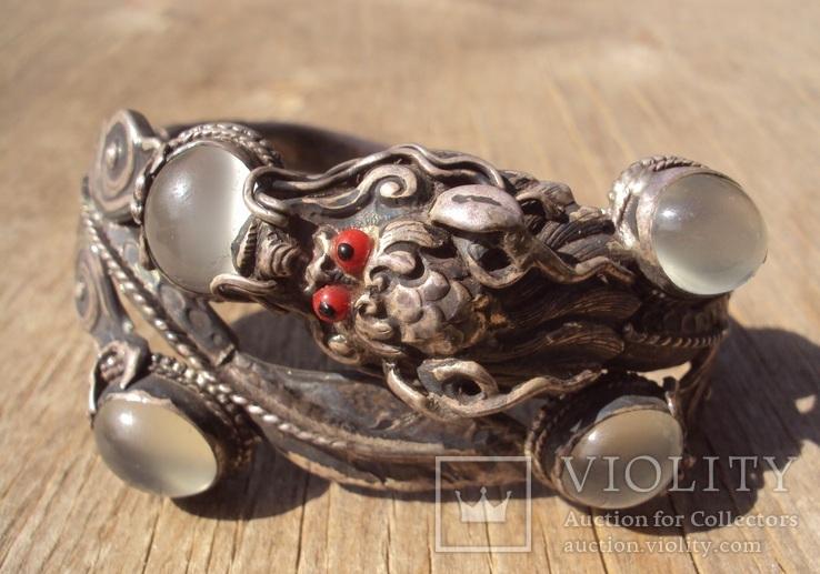 Старый браслет с лунными камнями., фото №13