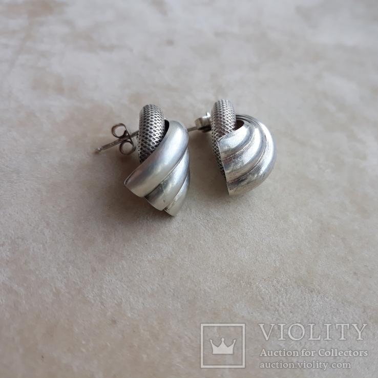 Винтажные серебряные серьги, Италия, фото №6