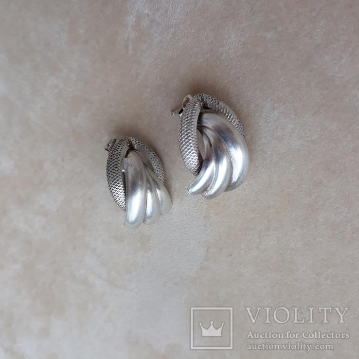 Винтажные серебряные серьги, Италия, фото №8