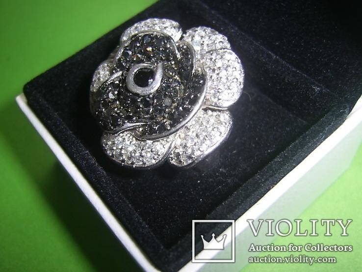 Кольцо в виде цветка 21.5г серебро 925, фото №3