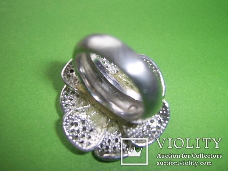Кольцо в виде цветка 21.5г серебро 925, фото №7