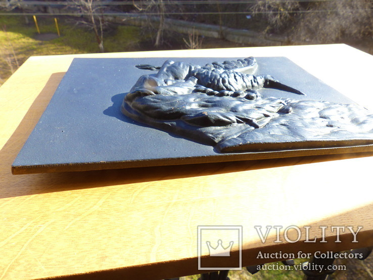 Настенное  панно  - чугун охота - -30 х 23,5 см - 3,175 кг - вальдшнеп - собака, фото №3