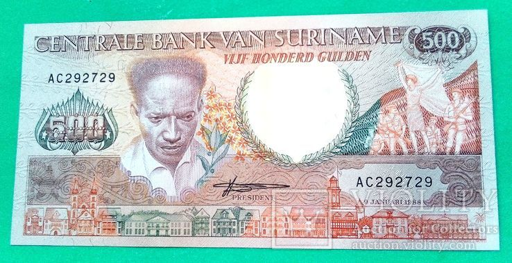 Суринам - 500 Gulden 1988 г. UNC Пресс, фото №2