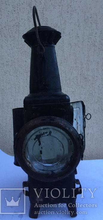 Фонарь железнодорожный лампа большая старинная массивная, фото №3