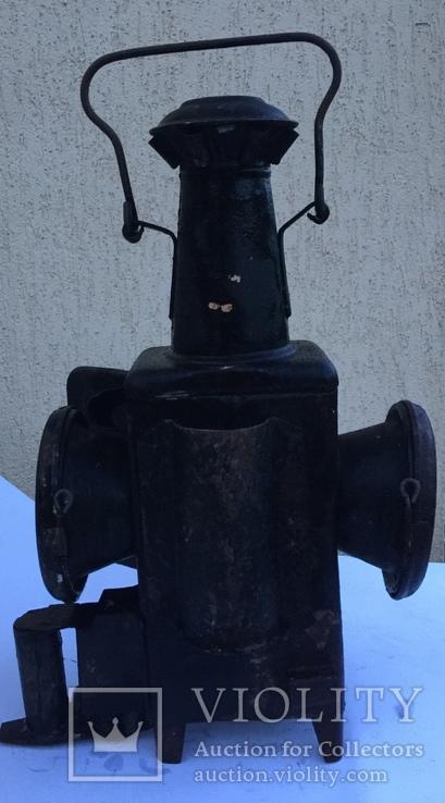 Фонарь железнодорожный лампа большая старинная массивная, фото №5