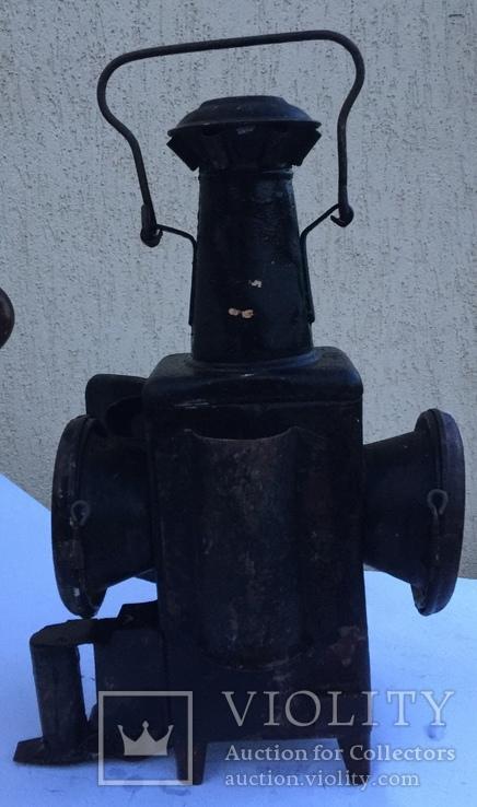Фонарь железнодорожный лампа большая старинная массивная, фото №6