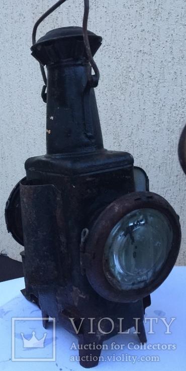 Фонарь железнодорожный лампа большая старинная массивная, фото №2