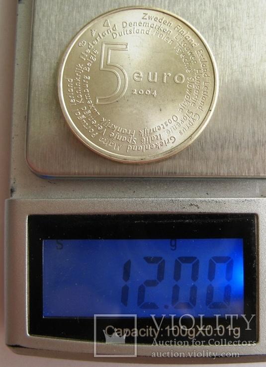 """Нидерланды, 5 серебряных евро """"Расширение ЕС"""" 2004 г., фото №4"""