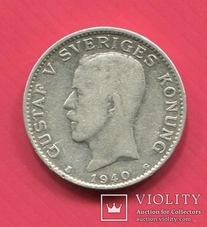 Швеция 1 крона 1940 Густав V, фото №2