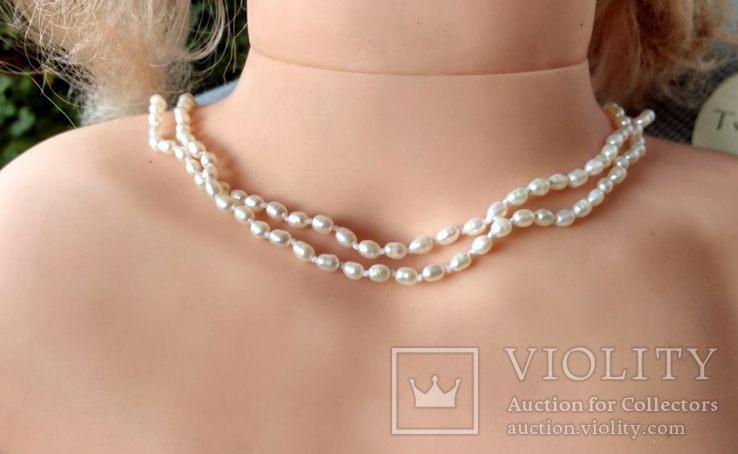 Жемчуг, позолота 14К, ожерелье 2 шт. по 40 см., фото №2