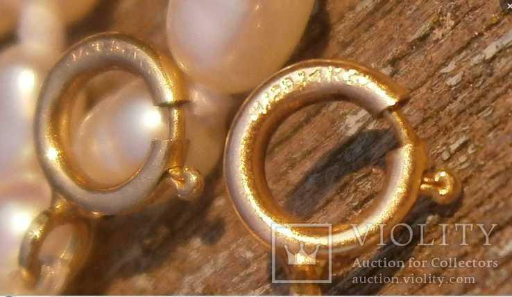 Жемчуг, позолота 14К, ожерелье 2 шт. по 40 см., фото №6