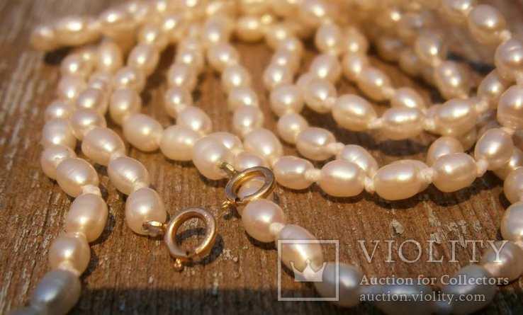 Жемчуг, позолота 14К, ожерелье 2 шт. по 40 см., фото №8