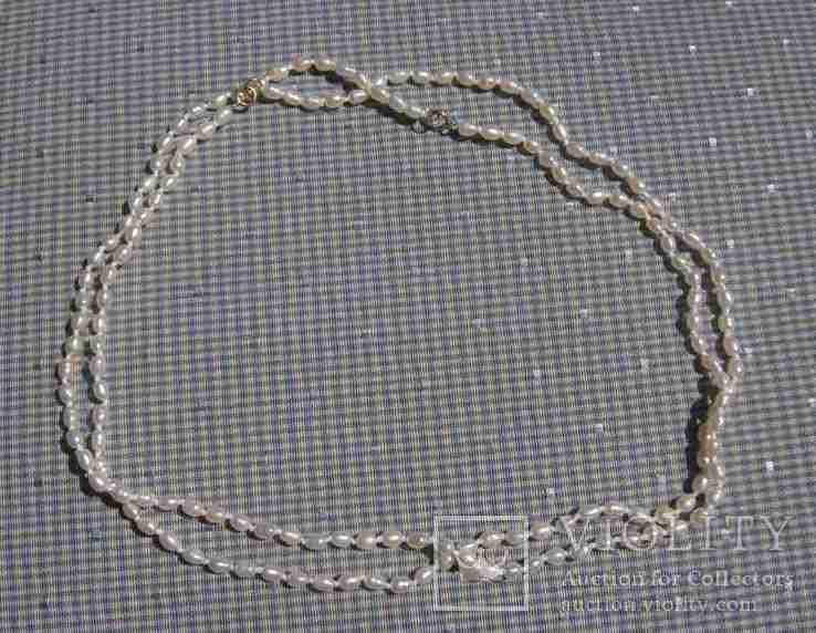 Жемчуг, позолота 14К, ожерелье 2 шт. по 40 см., фото №11