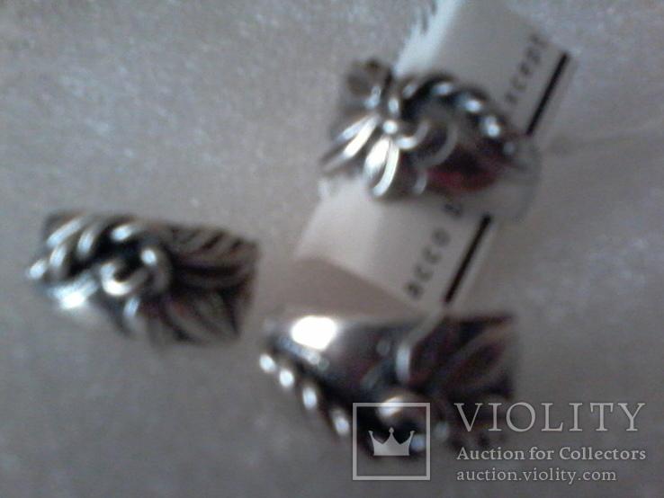 Набор серьги и кольцо р.18,  925 каштан.лист и тризуб