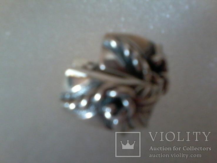 Набор серьги и кольцо р.18,  925 каштан.лист и тризуб, фото №3