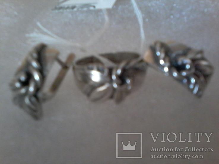 Набор серьги и кольцо р.18,  925 каштан.лист и тризуб, фото №6