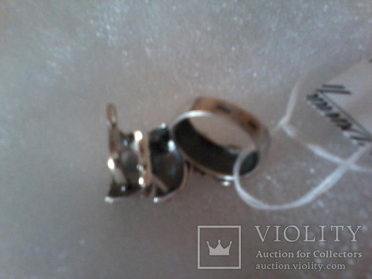 Набор серьги и кольцо р.18,  925 каштан.лист и тризуб, фото №7
