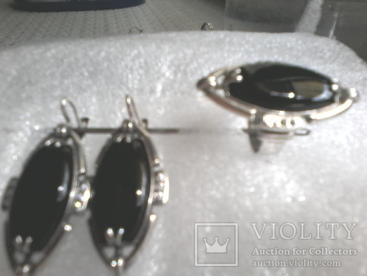 Набор 925 серьги ,кольцо р.16.5, фото №2
